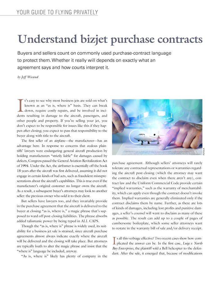 Understanding Business Jet Purchase Contracts