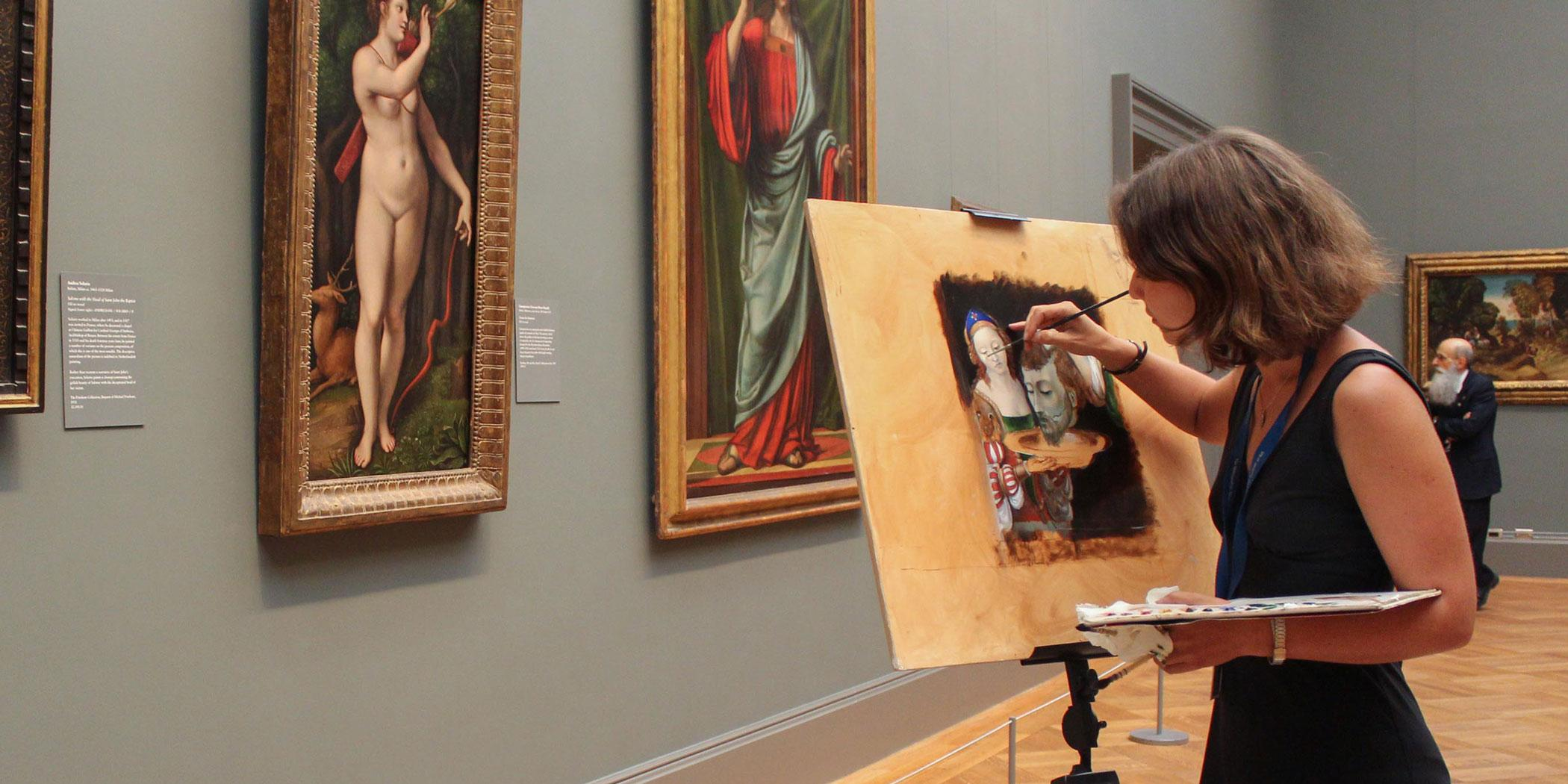 People copying paintings at the Metropolitan Museum of Art