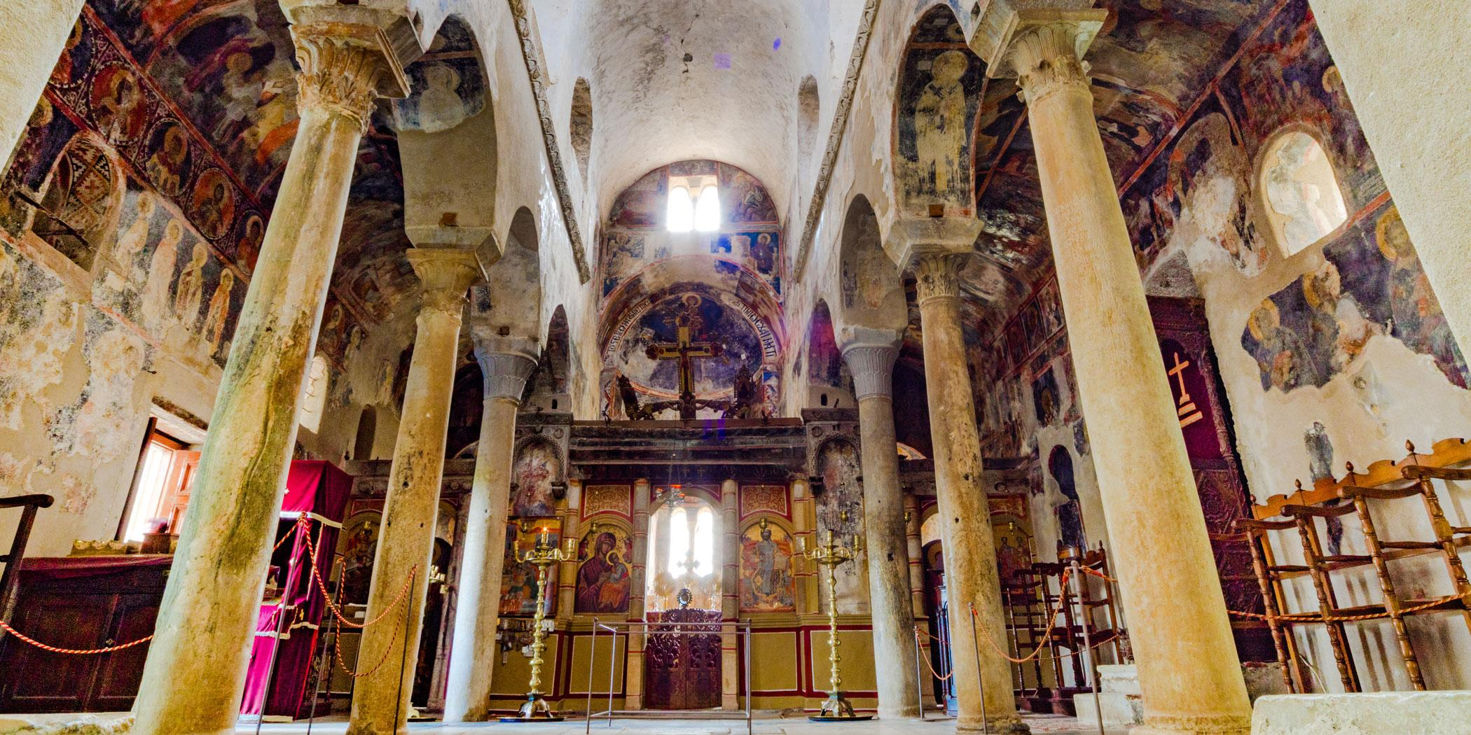 Fresco in Agia Sofia in Mystras. Photo: Adobe Stock