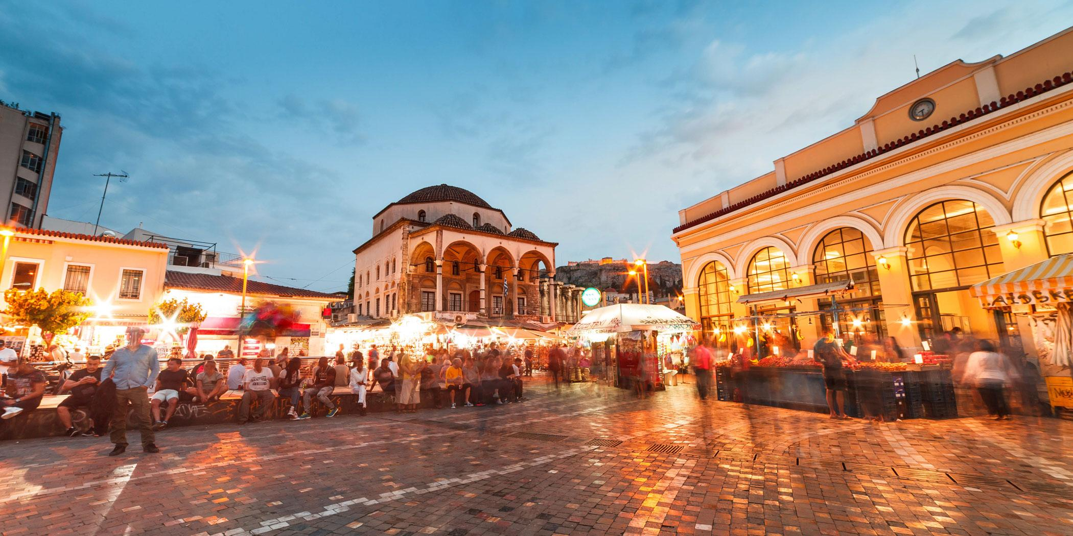 Monastiraki Square in Athens Greece at night. Photo: Adobe Stock