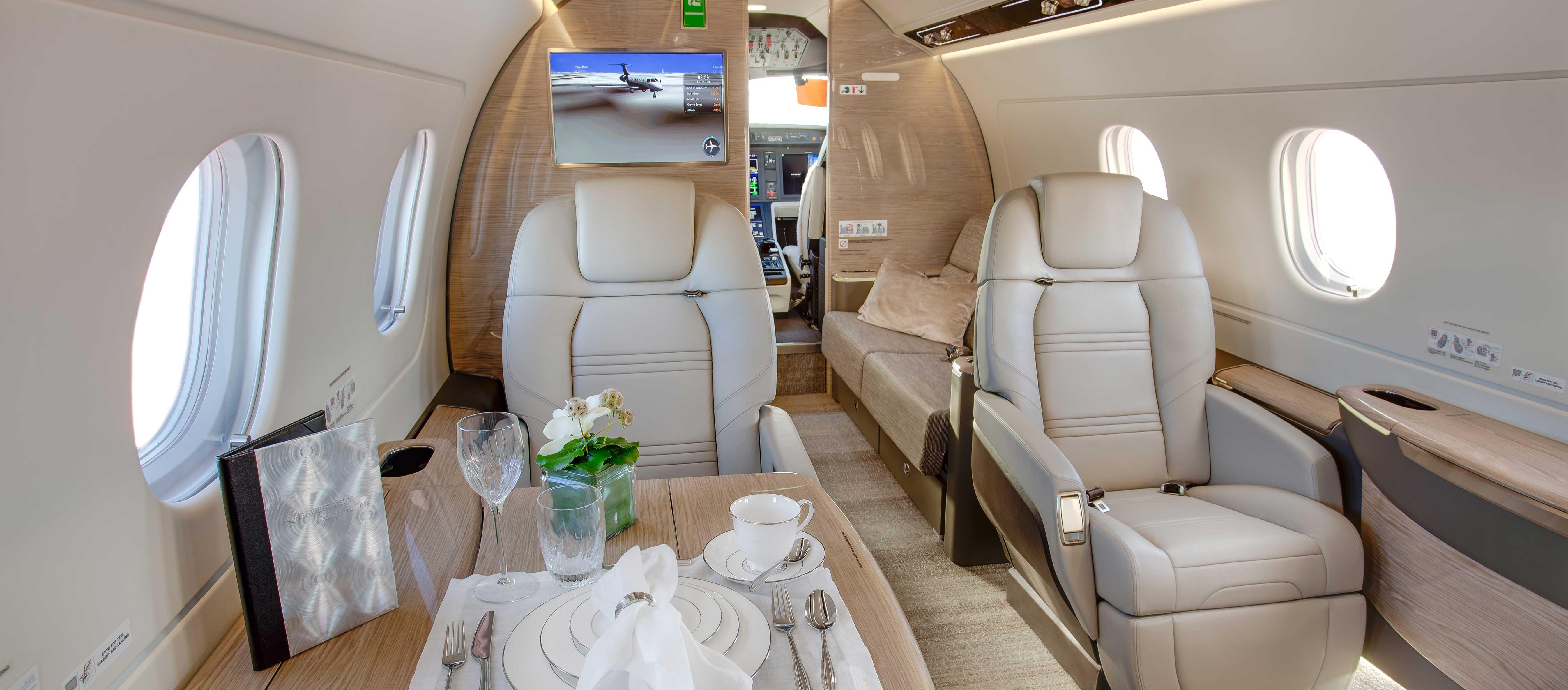 Embraer's Praetor cabins employ recycled materials.