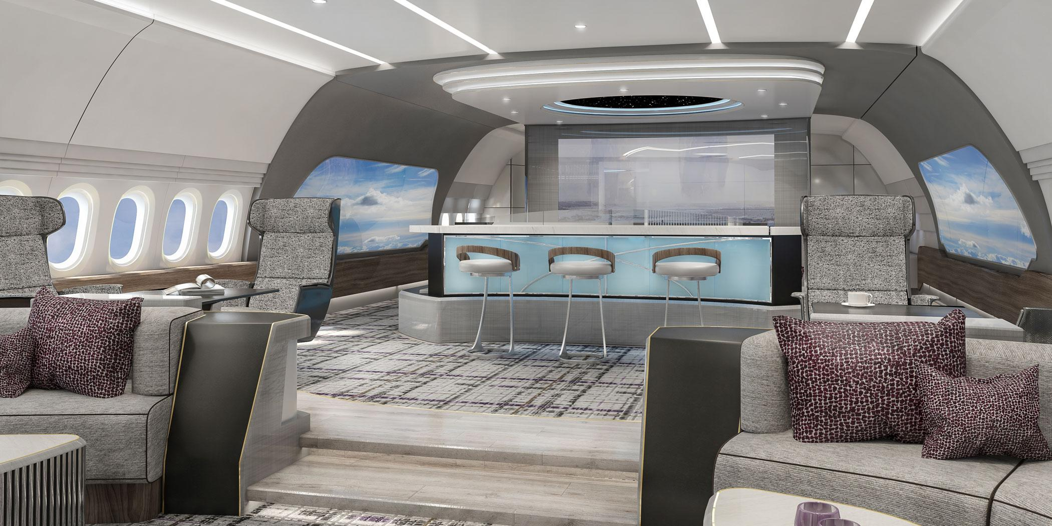 Greenpoint Technologies designed this lounge for a Boeing BBJ 777X
