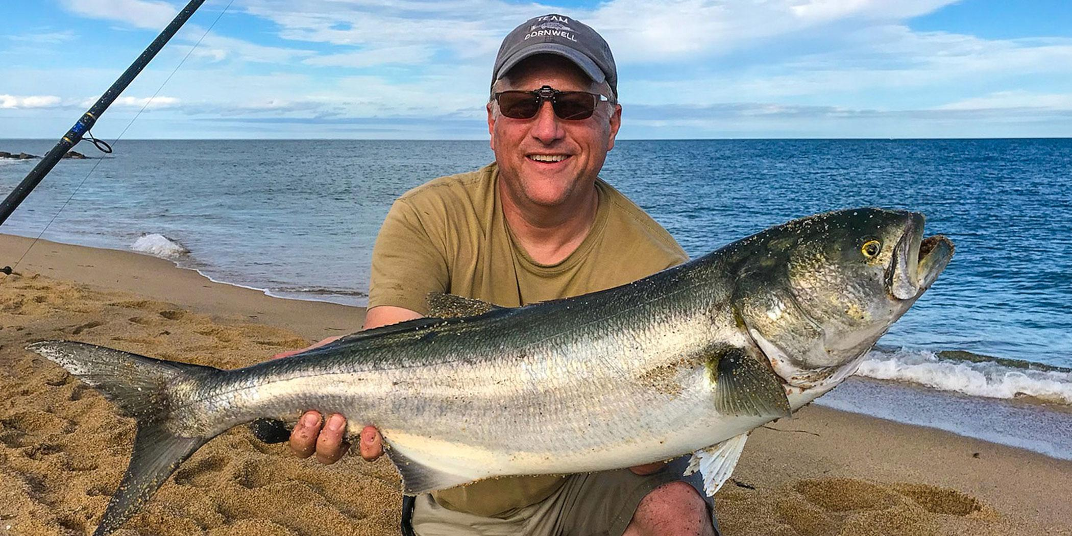 Fisherman Jim Cornwell shows off a big catch. PHOTO: Martha's Vineyard Striped Bass and Bluefish Derby
