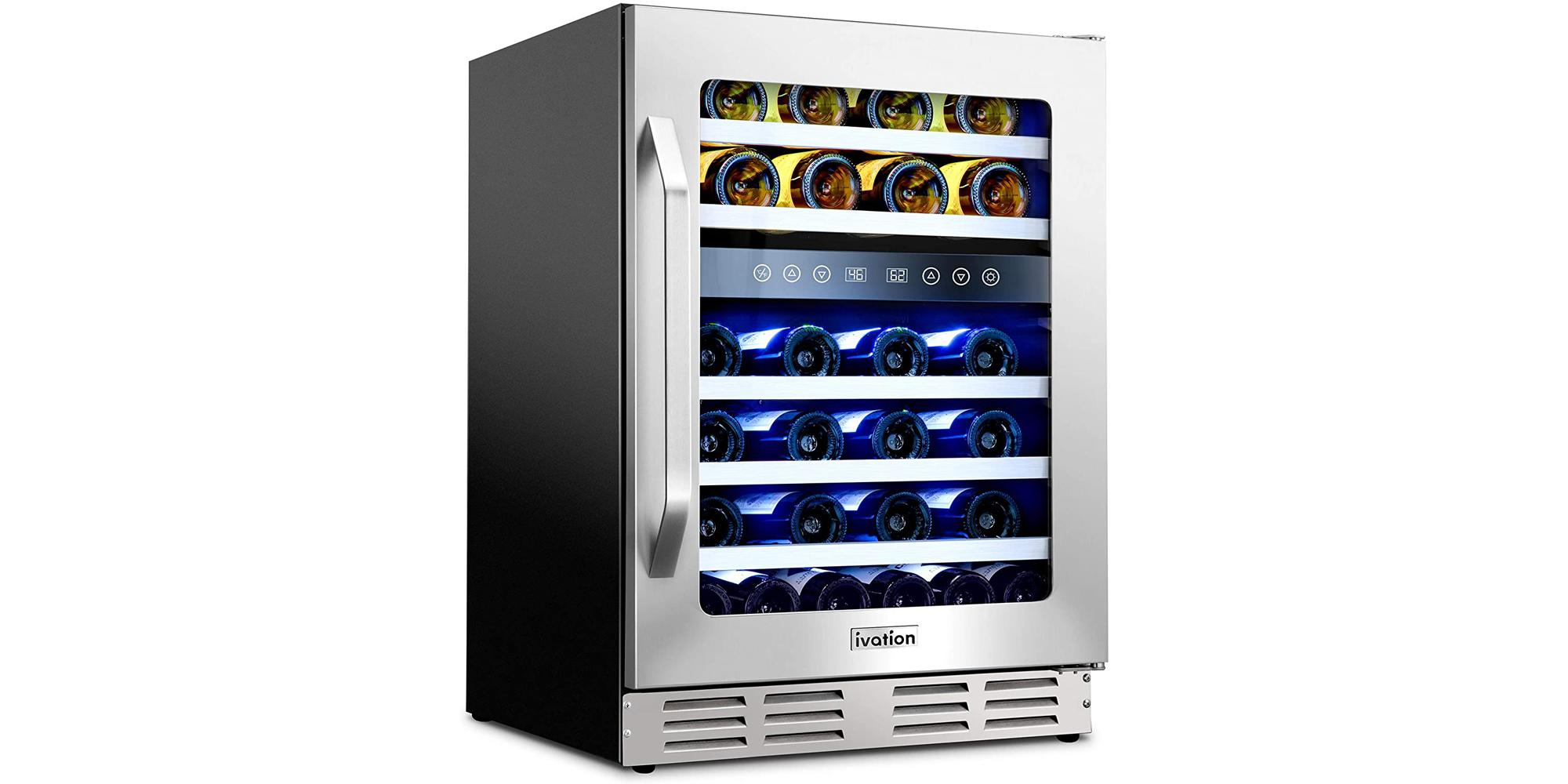 Ivation 46-bottle dual-zone glass and stainless-steel wine cooler