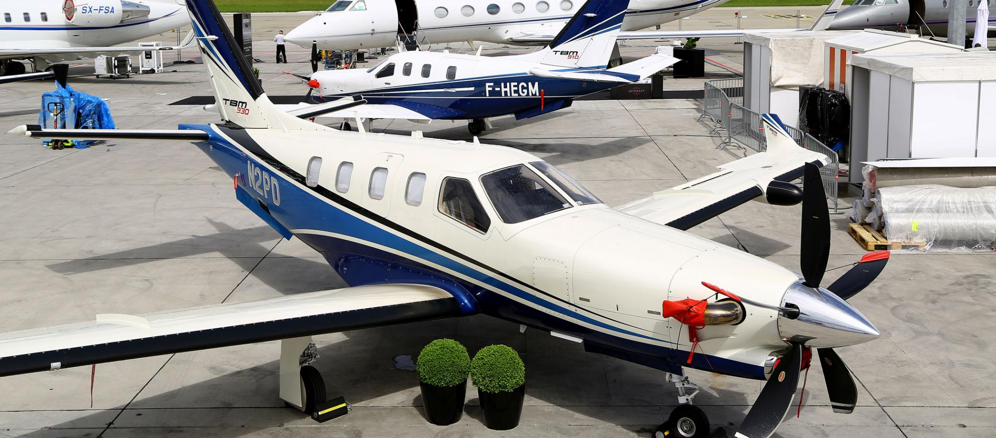 The Daher TBM 930 (foreground) and 910 on the static display in Geneva at EBACE 2018