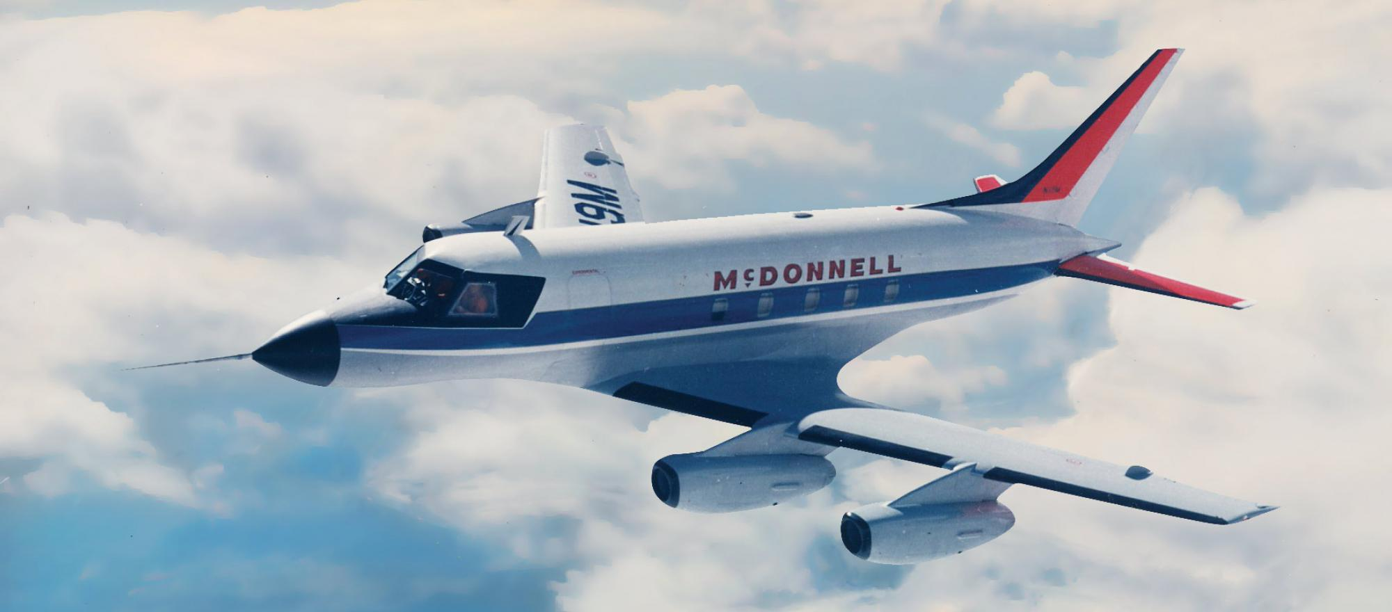 In the 1960s, McDonnell Douglas designed an unusual small jet, the four-engine Model 119. Though it received a provisional type certification, it never went into production.
