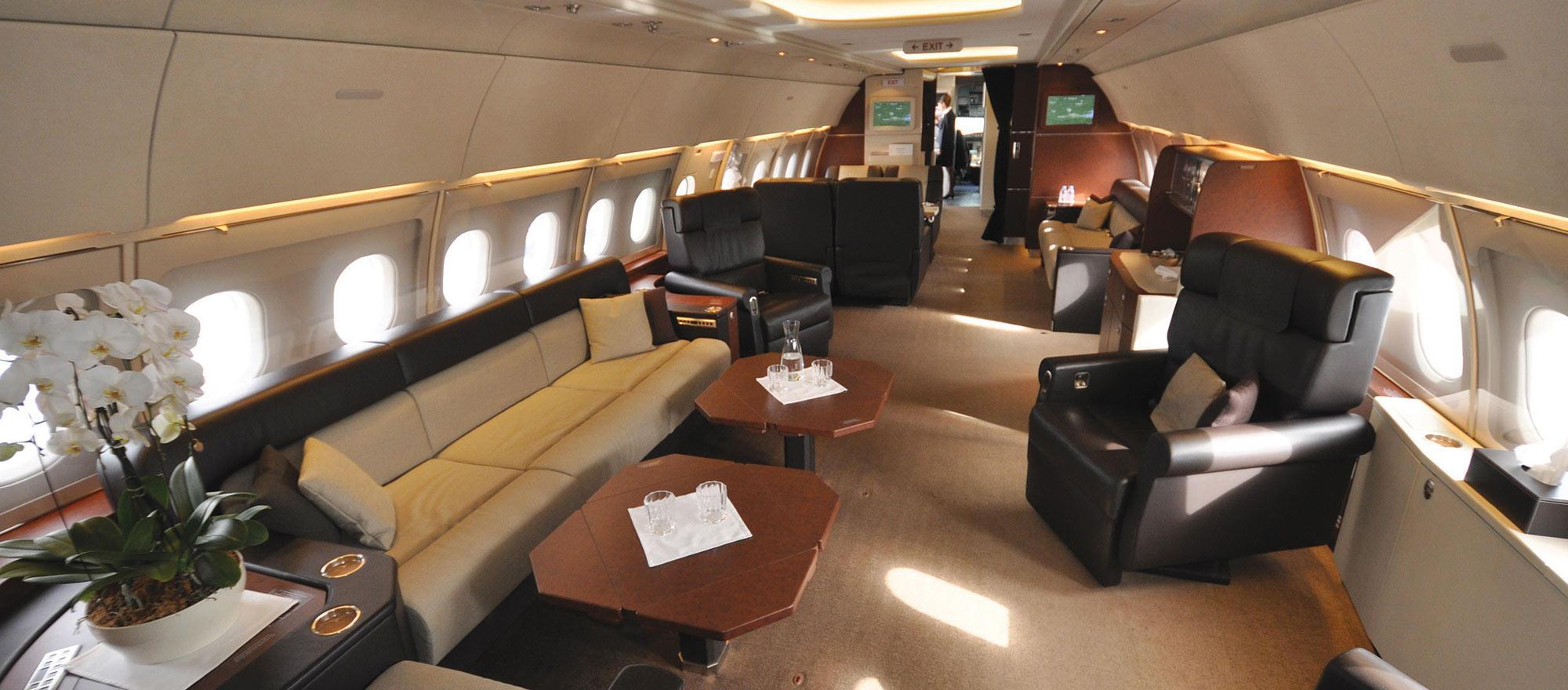 Large-cabin bizliners such as this Airbus ACJ318 offer the ultimate in comfort and space, with many often having separate living room, dining area and bedroom.