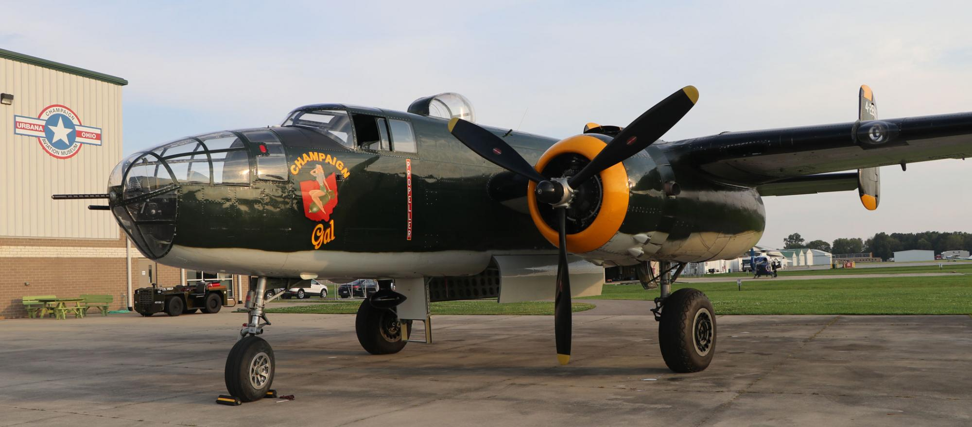 """""""In the B-25, you feel the history, It's like flying for the first time,"""" says Dave Shiffer, a pilot for the Champaign Aviation Museum in Urbana, Ohio."""