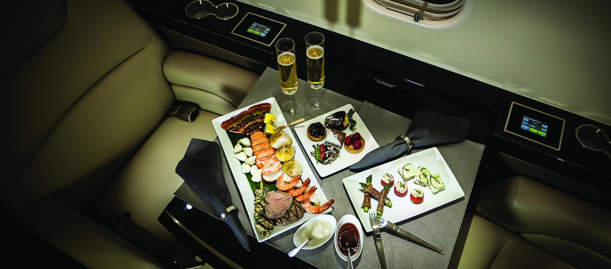 Food offerings from business aviation caterers mirror those found at top gourmet restaurants, but simpler fare such as burgers and sandwiches are also common. (Photo: Cunningham Photo Artists/Chef Charles Catering)