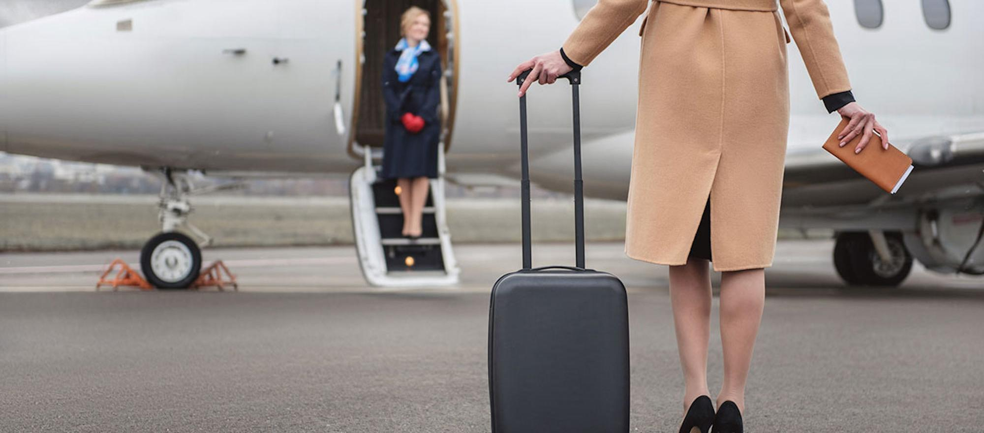 Boarding a business jet