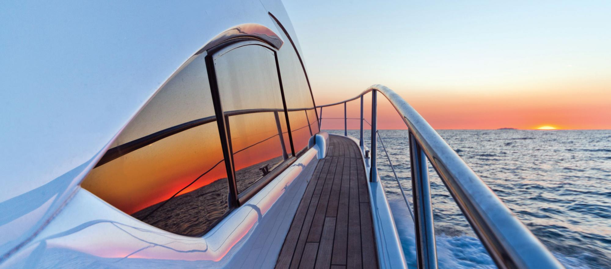 Sunset view from the deck of a yacht.
