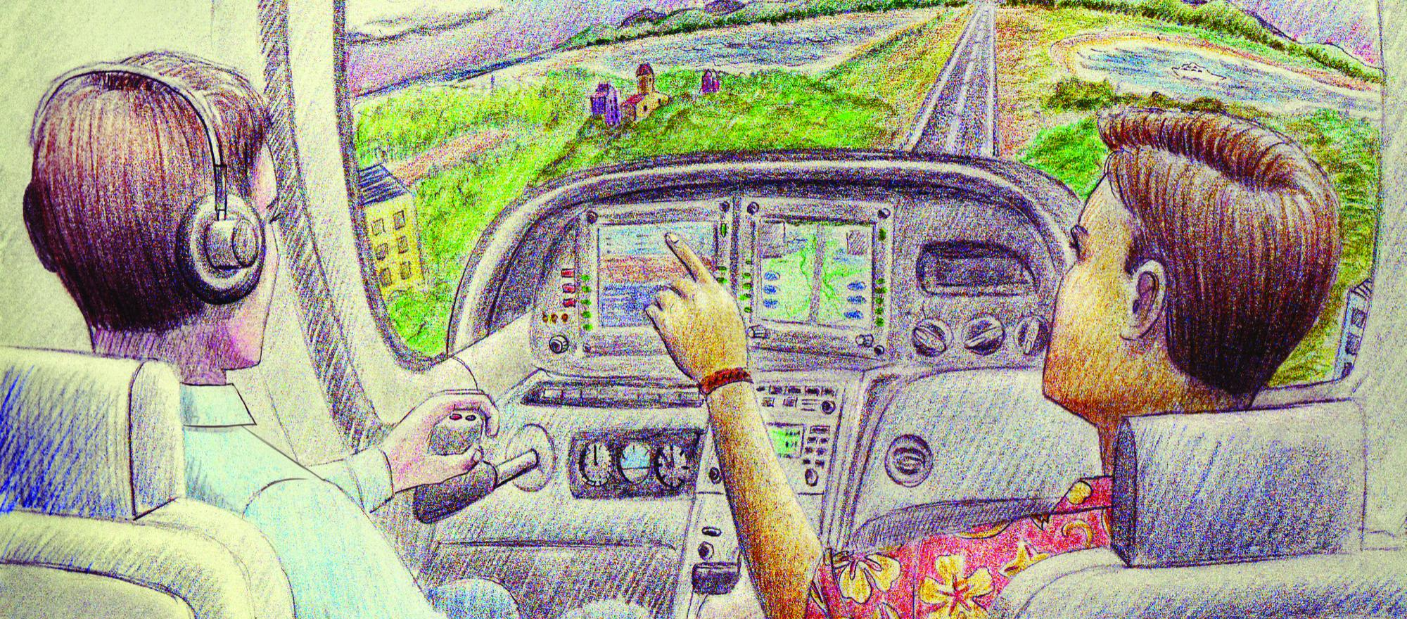 Many repeat customers learn to love the view out the big window up front. And it's not just pilot wannabees. (Illustration: John T. Lewis)