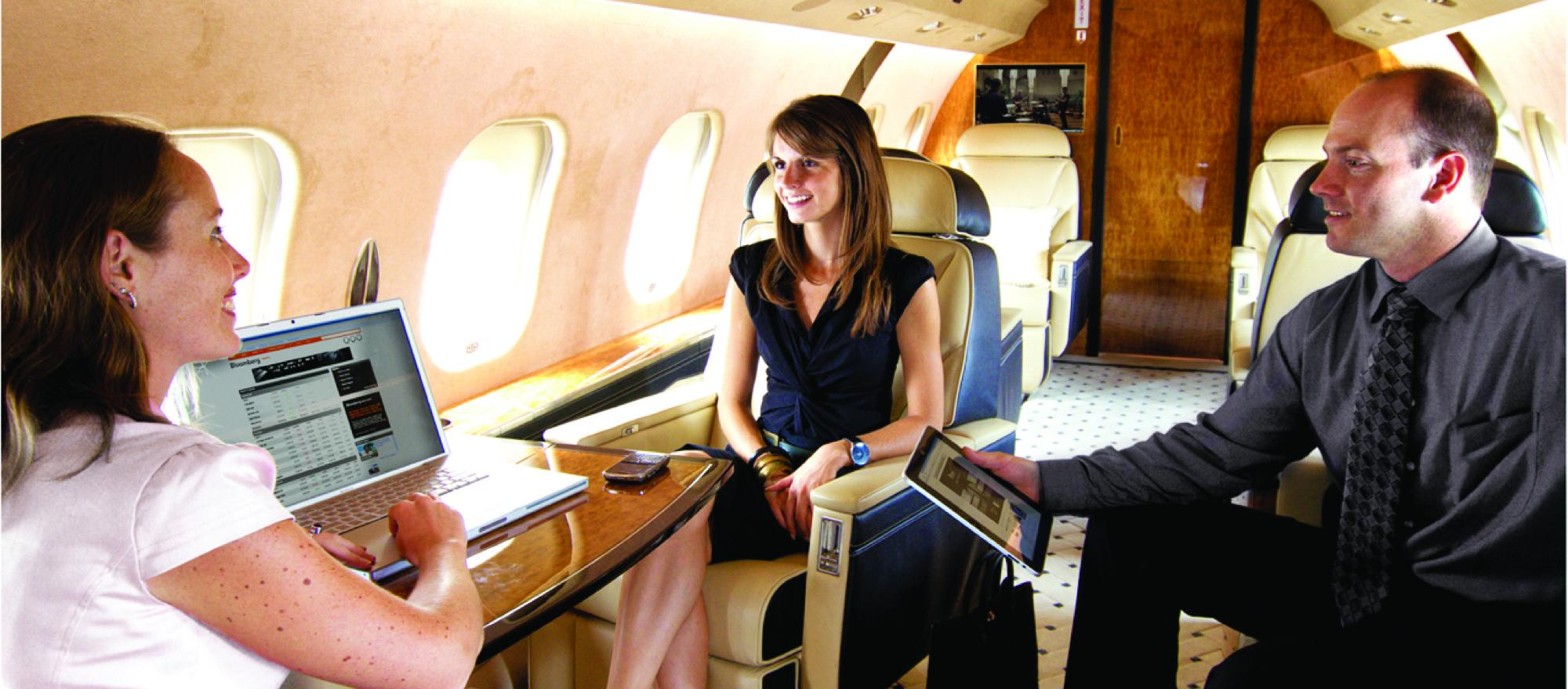 Business aircraft passengers are constantly seeking the latest in cabin electronics from smart phone charging stations to in-flight connectivity. (Photo: Innotech Aviation)