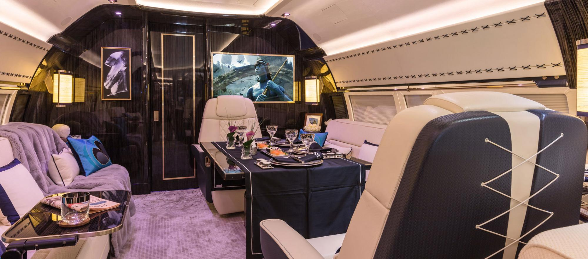 You can dine in style in this elegantly appointed BBJ 1 cabin, a product of Winch Design.