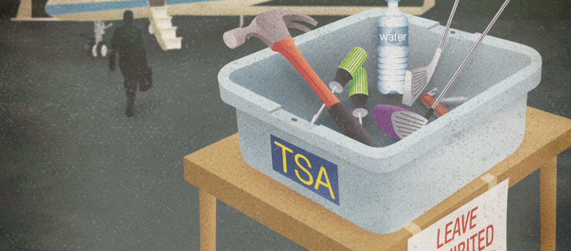 TSA Prohibited Items Bin.