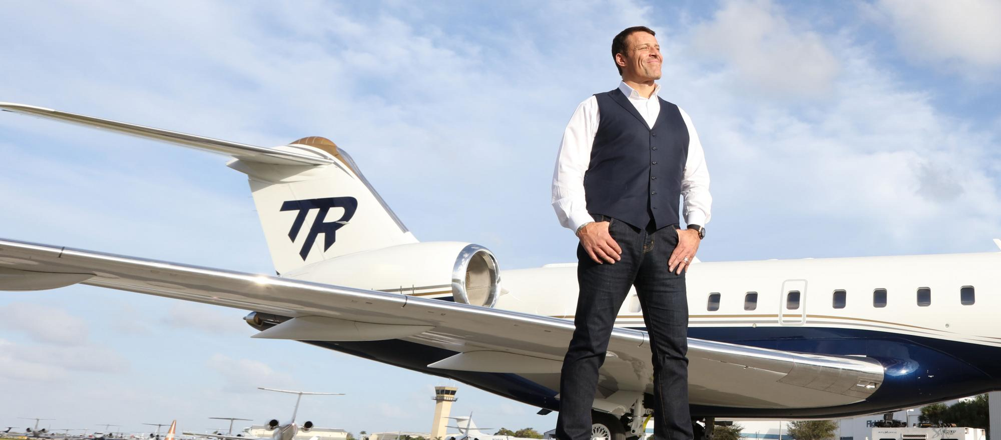 Tony Robbins and his Bombardier Global Express XRS.