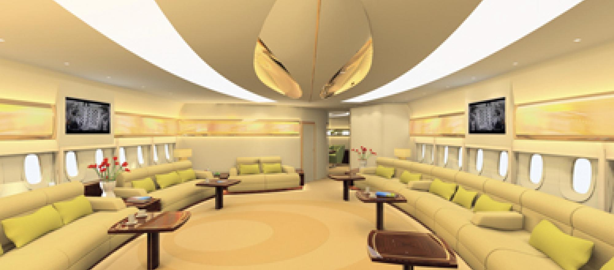 You won't confuse the prince's airbus a380 cabin with airline coach class. It