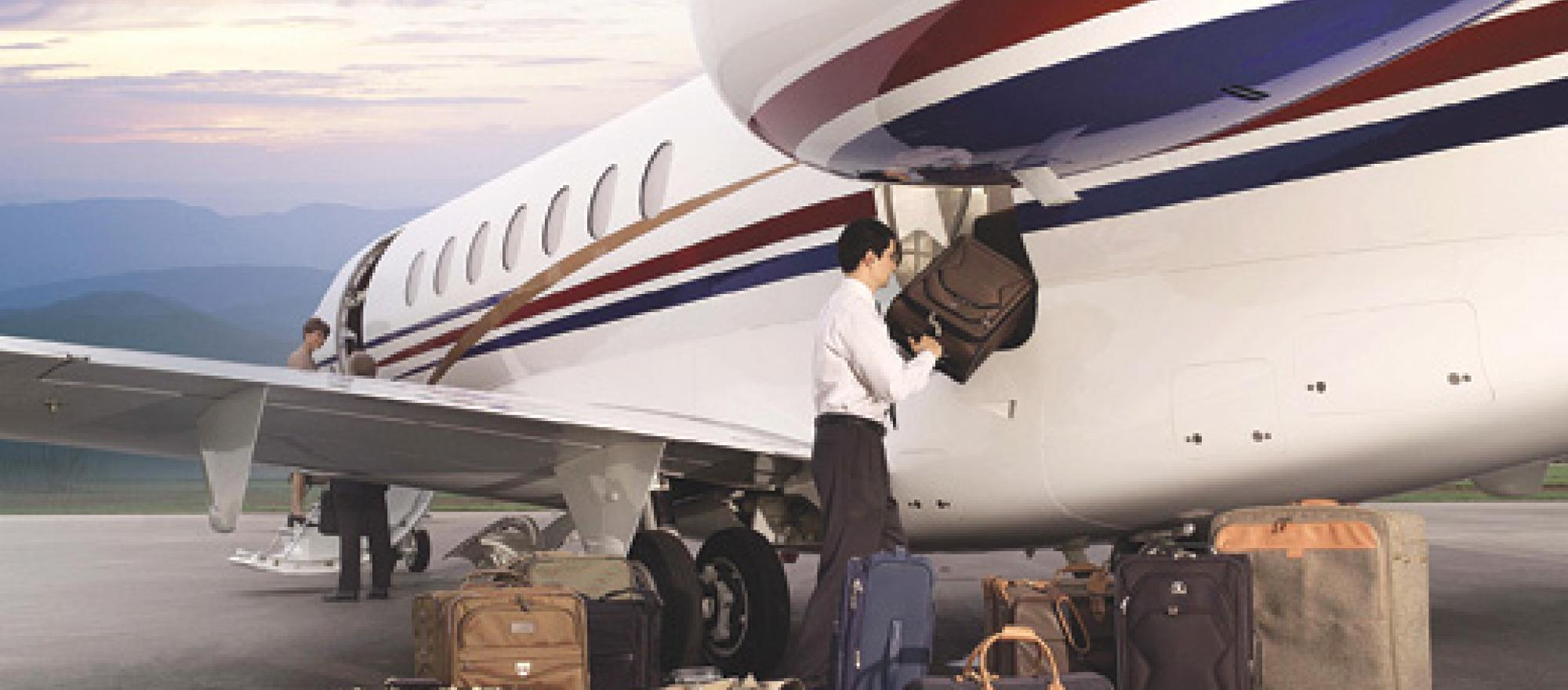 The Hawker 4000 features a 100-cubic-foot baggage compartment, a comfortable