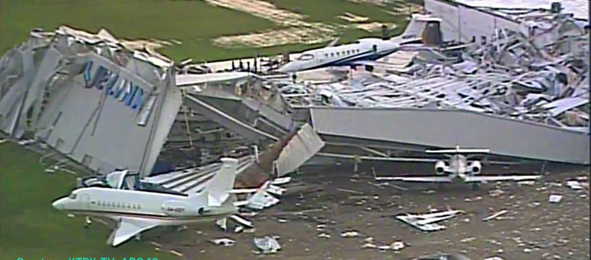 Collapsed hangar at Houston Hobby