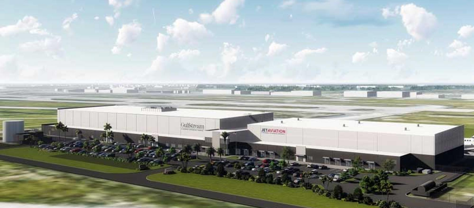 Artist rendering of planned Jet Aviation/Gulfstream Complex at PBI