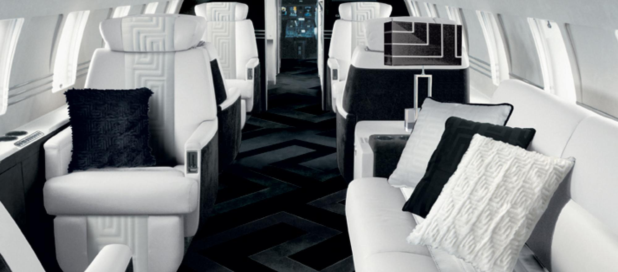 Versace teamed with TAG Aircraft Interiors to create this rendering proposal for a large-cabin private jet.