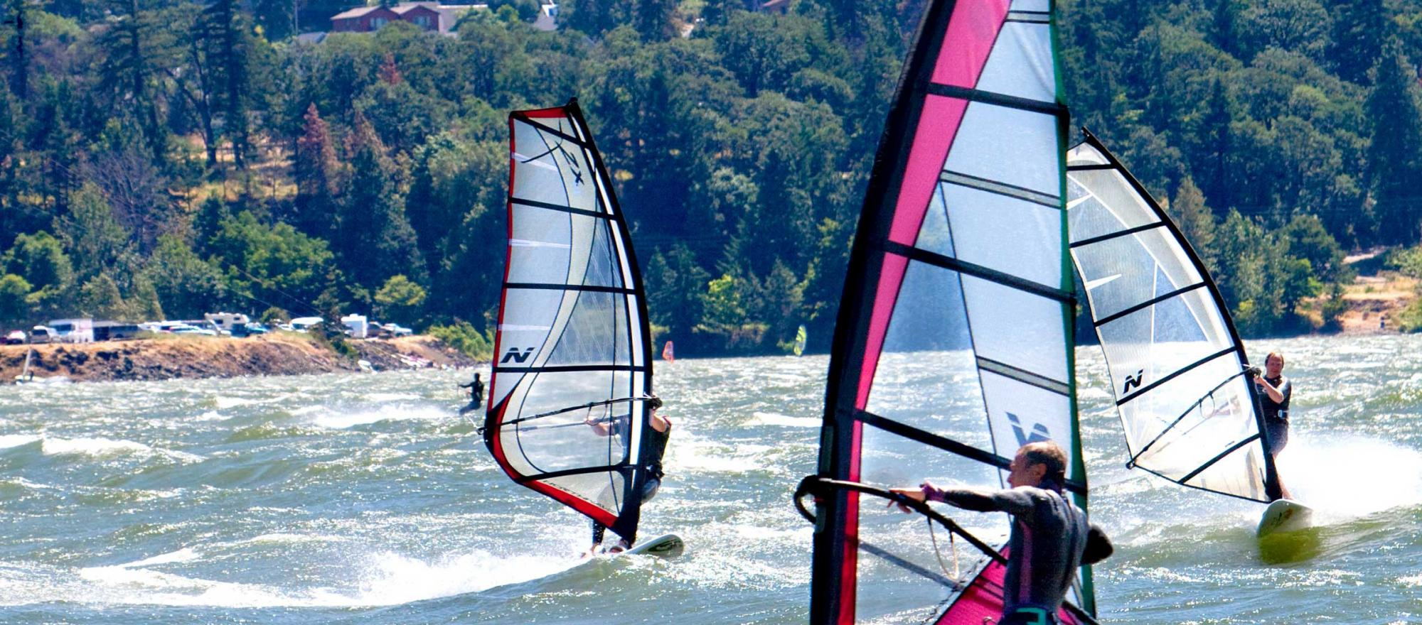 Windsurfers on the Columbia River Gorge.