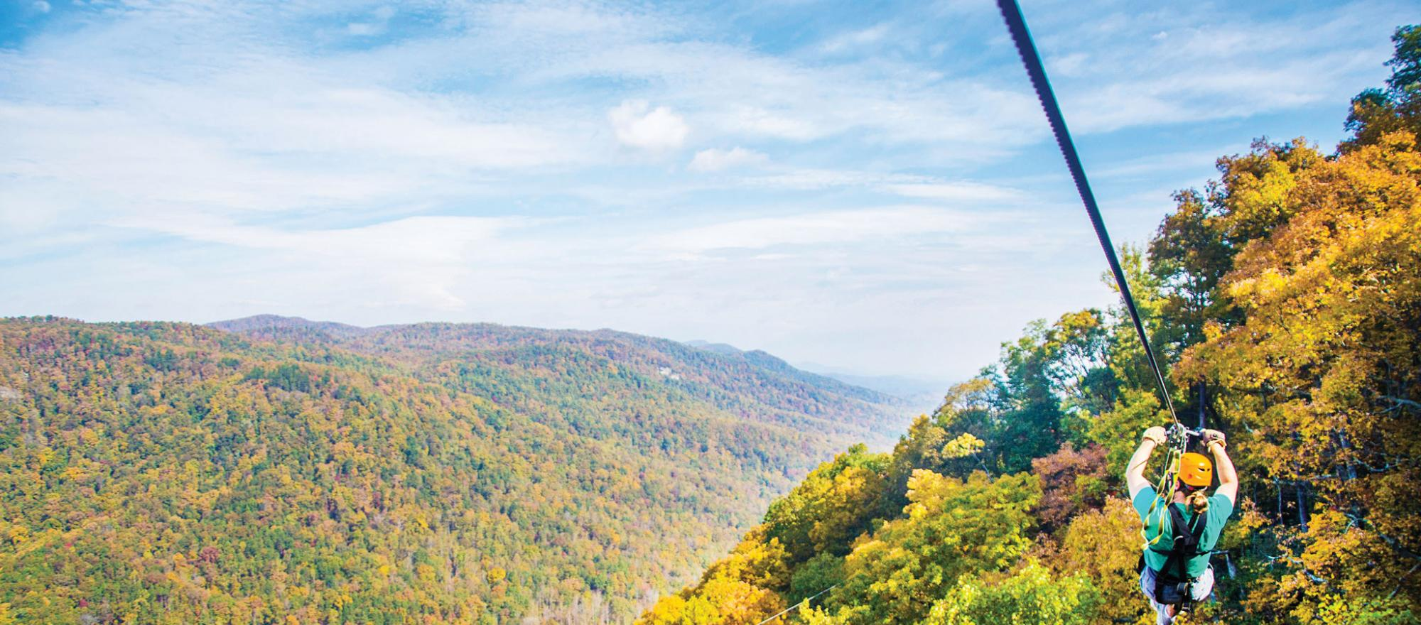 Ziplining provides stunning views in all seasons. (Photo: The Gorge Zipline)