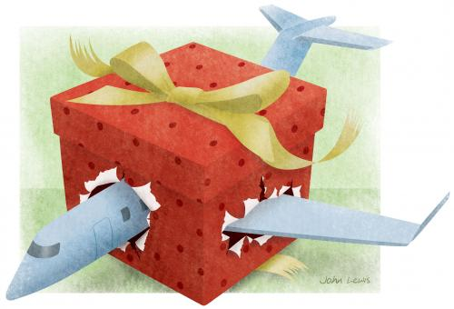 """""""How about celebrating New Year's Eve in Australia?"""" suggested my advisor. """"Then you fly back across the  International Date Line and celebrate again, in Hawaii.""""(Illustration: John C. Lewis)"""