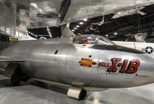 A new building at the National Museum of the U.S. Air Force houses more than 70 aircraft, missiles, and space vehicles, including this Bell X-1B.