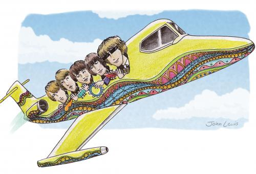 Illustration of jet with passengers.