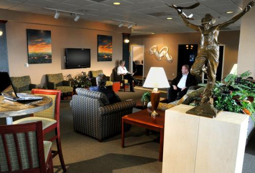 An FBO provides passenger and pilot lounges, aircraft parking, fuel and other amenities.
