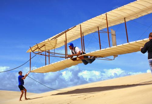 Now you can soar over the dunes in Kitty Hawk, North Carolina, just as Orville and Wilbur did more than a century ago, aboard an exact reproduction of their 1902 glider.