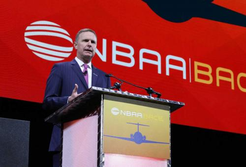National Business Aviation Association president and CEO Ed Bolen speaks at the group's 2018 annual meeting.