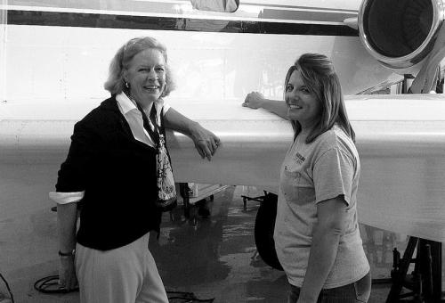 Susan Aselage (left) with Sabreliner technician Ramona Wingerter.