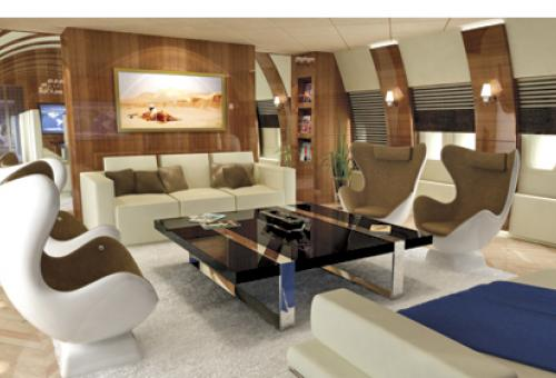 A futuristic-looking boeing 747 interior by Edese Doret industrial design con