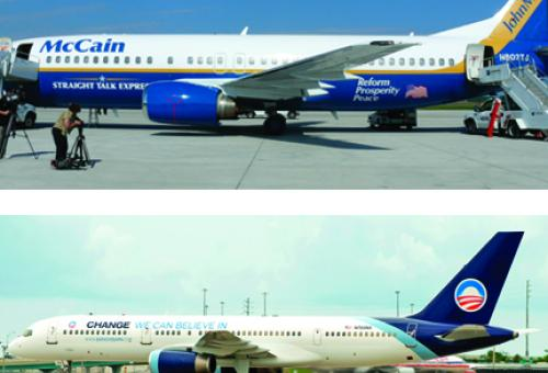 Senator McCain's Boeing 737 (top) has been configured to  recall his old camp