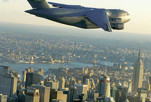 An Air Force Boeing C-17 recently flew crosscountry powered by a synthetic fu