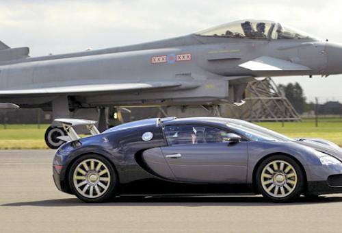"The Eurofighter Typhoon and the Bugatti Veyron at the start of the ""ultimate"""