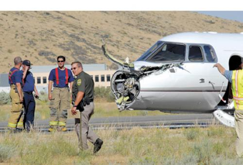 In the aftermath of the nonfatal collision of a Hawker 800XP and a sailplane