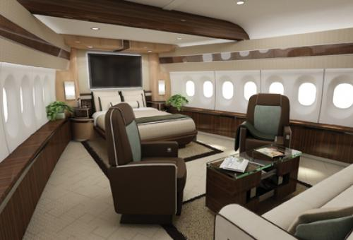 You're not likely to feel cramped in a Boeing 747-8 master suite. This propos