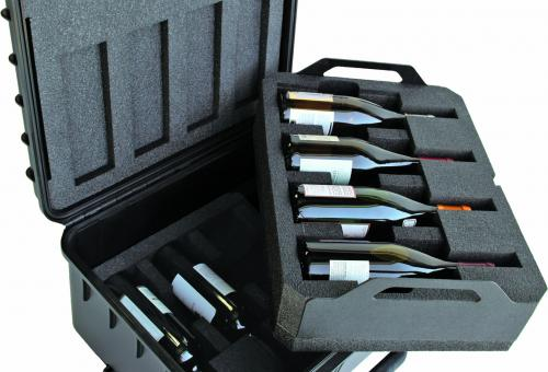 Winecruzer's hard shell rolling wine case.